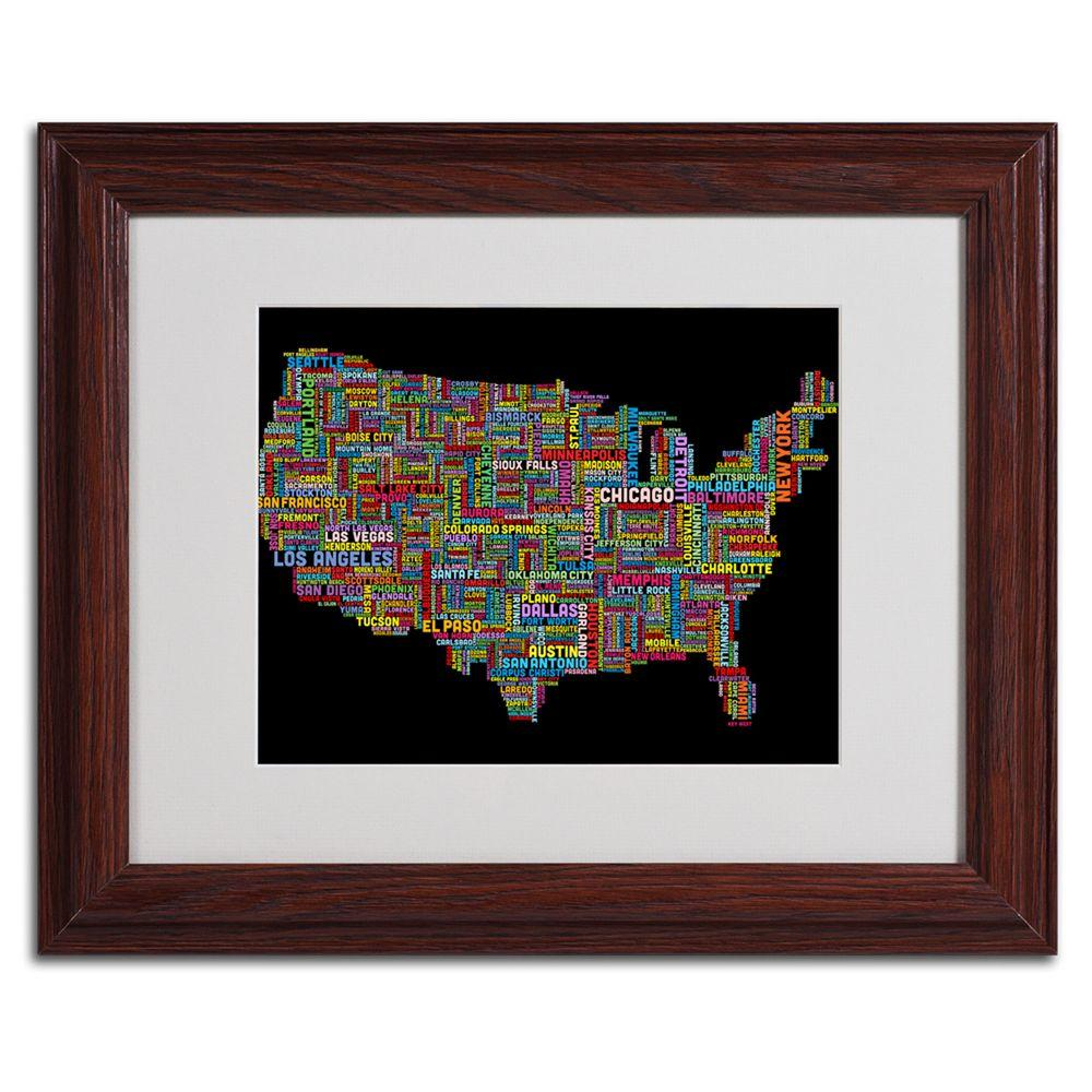 Trademark Fine Art 11 in. x 14 in. US Cities Text Map II Matted Framed Art