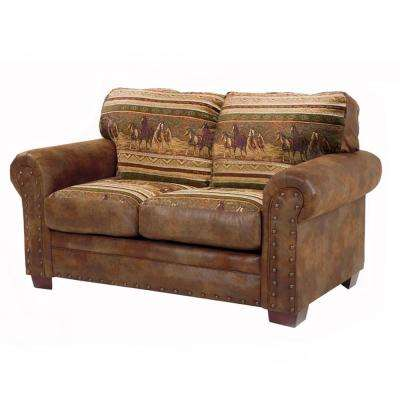 Wild Horses 67 in. Brown/Tan Pattern Microfiber 3-Seater Loveseat with Removable Cushions