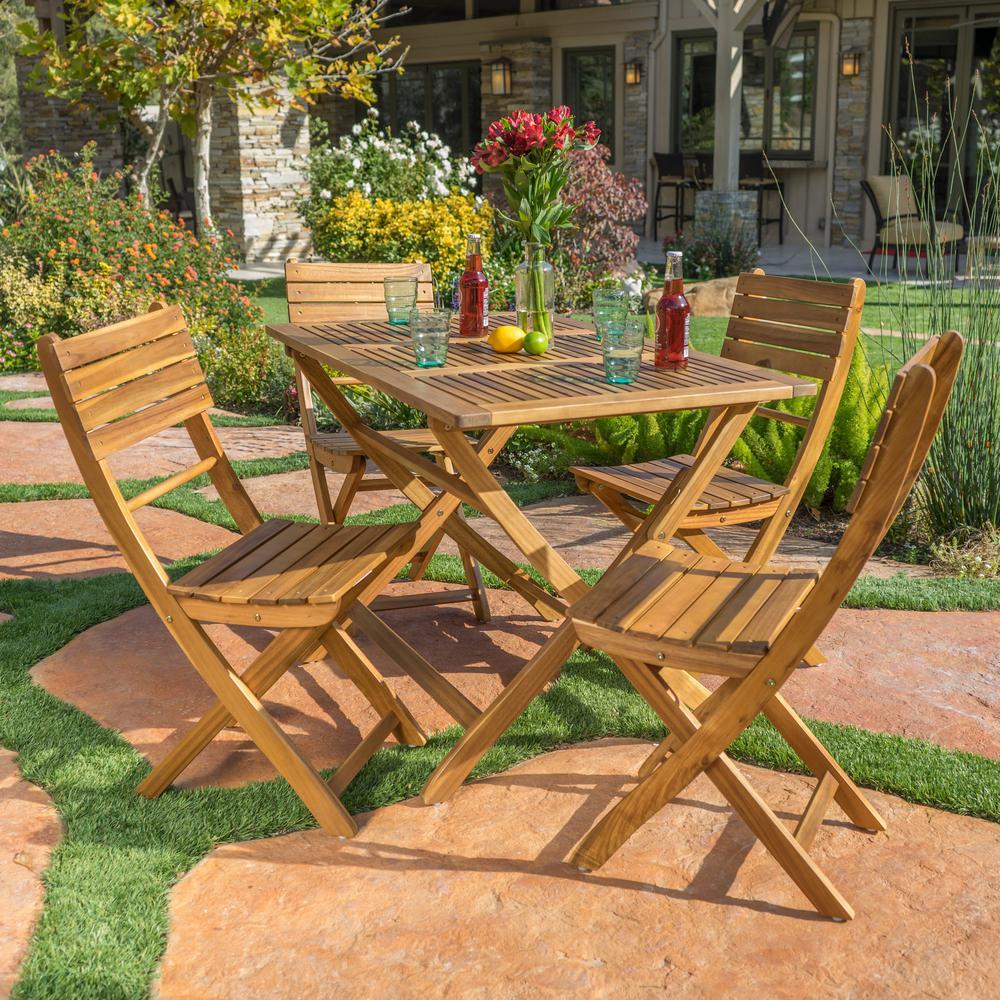 Positano Natural 5-Piece Wood Outdoor Dining Set