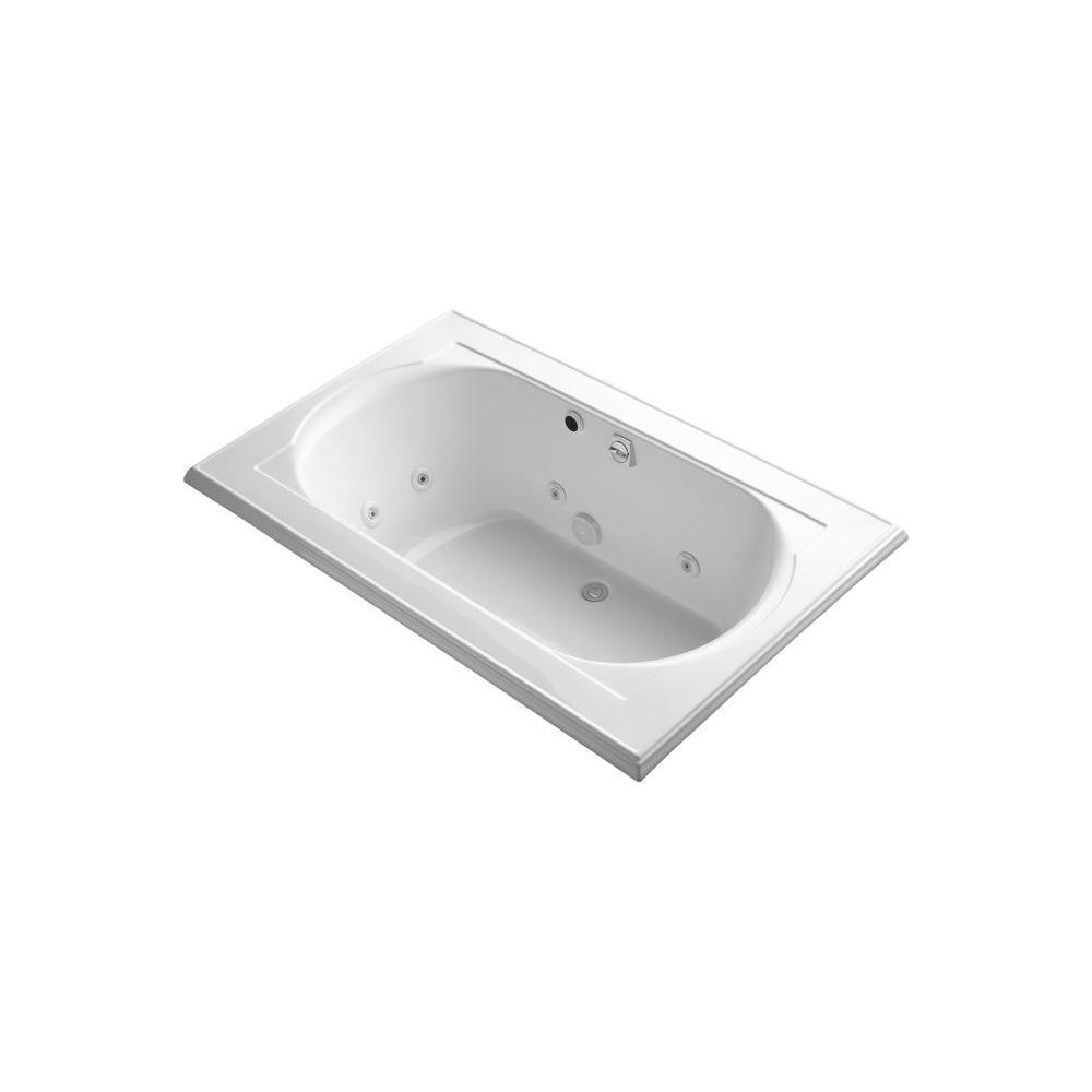 KOHLER Memoirs 5-1/2 ft. Rectangular Drop-in Whirlpool Bath Tub in White