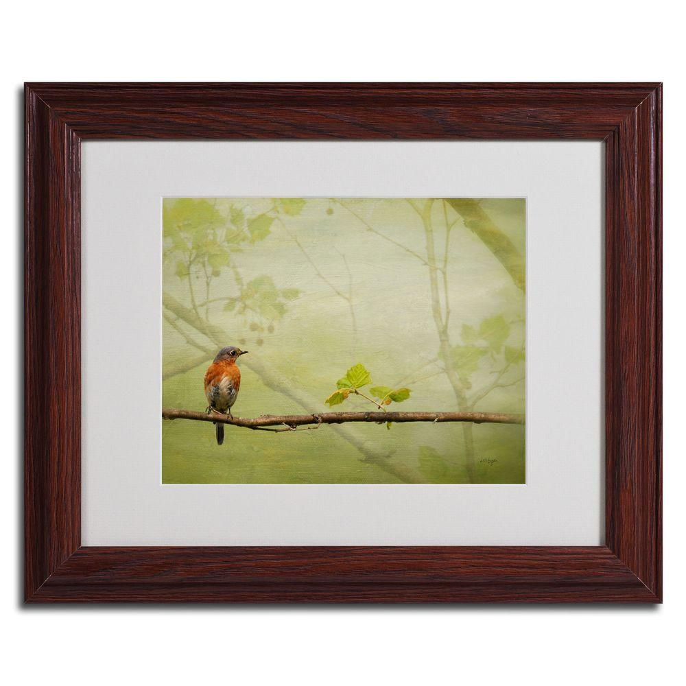 null 16 in. x 20 in. Bluebird in Spring Dark Wooden Framed Matted Art