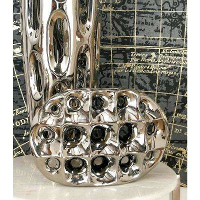 12 in. Modern Silver Ceramic Decorative Vase