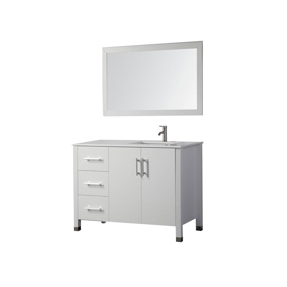 H Vanity In White With Top Right Offset Basin And Mirror Mtd 8118c Rw The Home Depot
