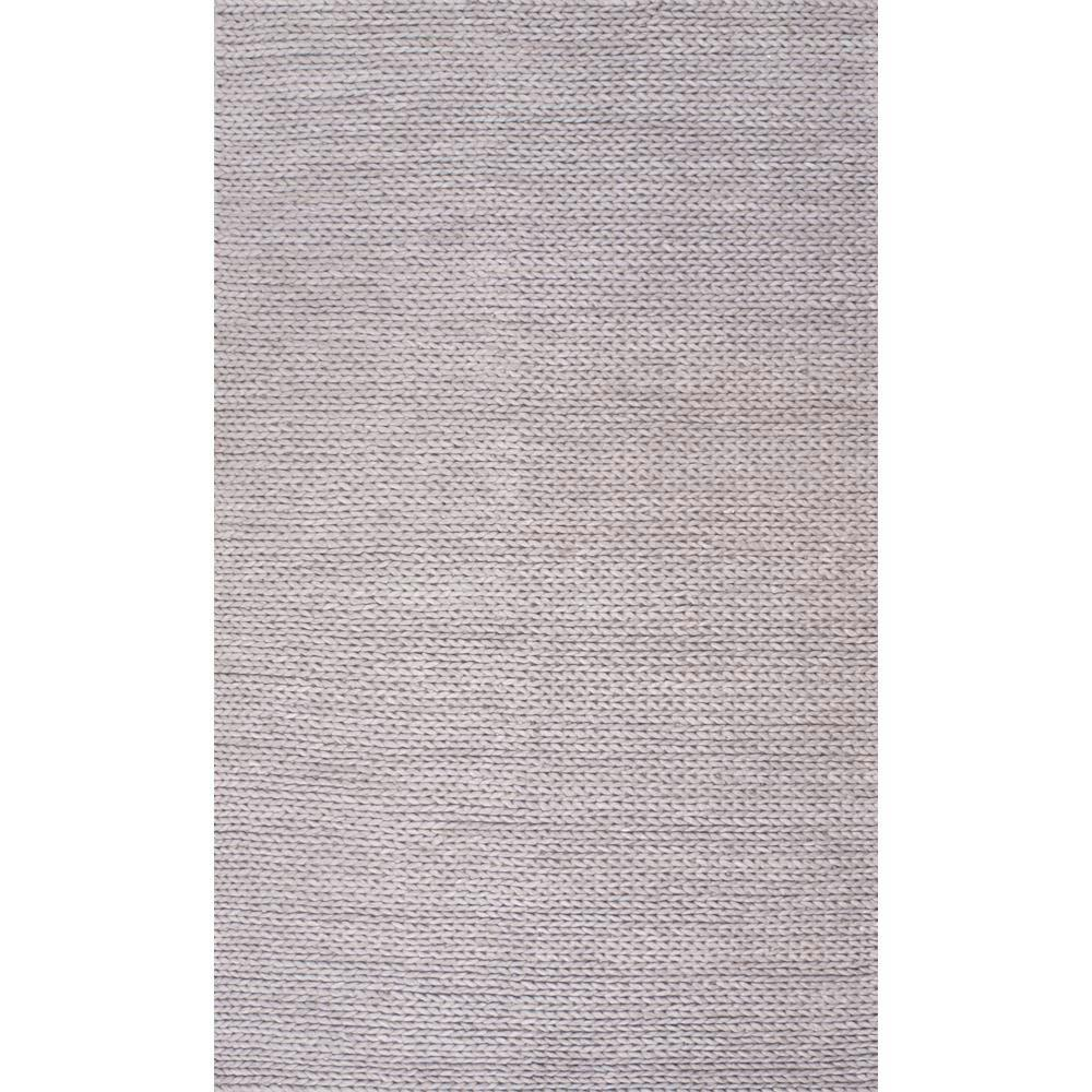 Nuloom Caryatid Solid Wool Light Gray 8 Ft X 10 Area Rug