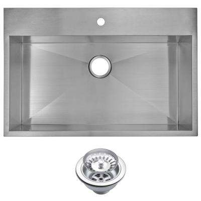Drop-In Zero Radius Stainless Steel 33 in. 1-Hole Single Bowl Kitchen Sink with Strainer in Satin