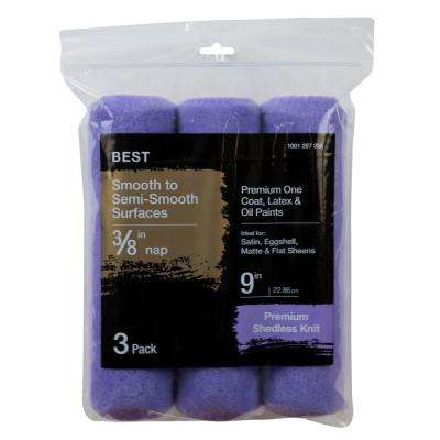 9 in. x 3/8 in. High-Capacity Polyester Knit Roller Cover (3-Pack)