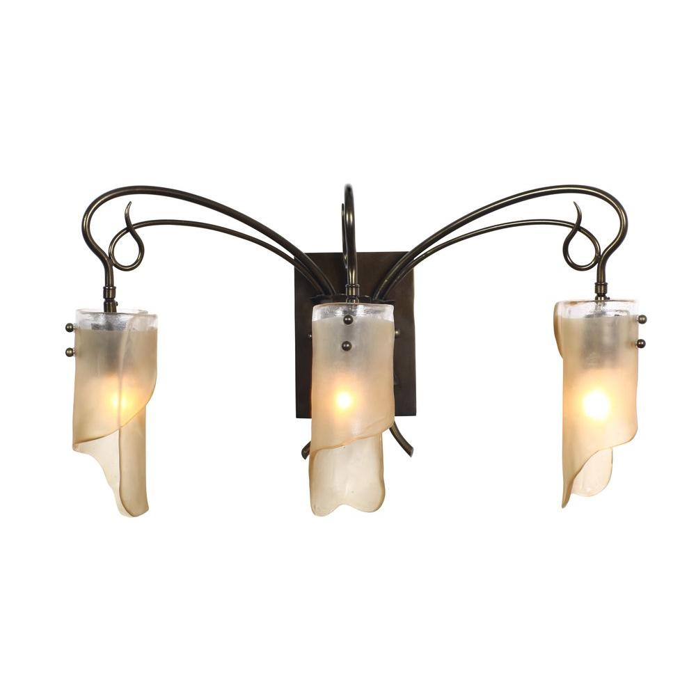 Varaluz Soho 3-Light Statue Garden Bath Vanity Light with Brown Tint Ice Glass