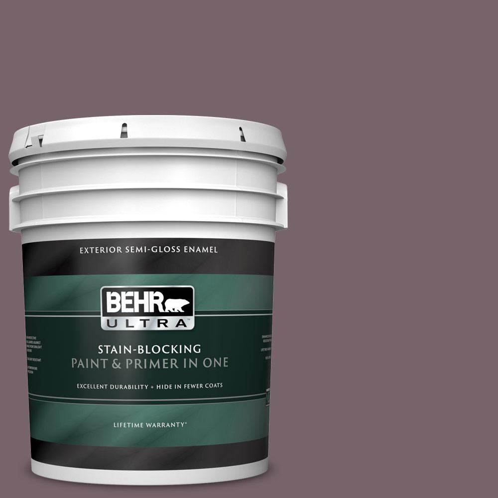 Behr Ultra 5 Gal 100f 6 Plum Shade Semi Gloss Enamel Exterior Paint And Primer In One 585305 The Home Depot