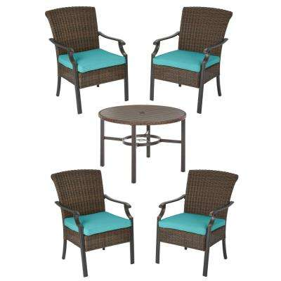 Harper Creek Brown 5-Piece Steel Outdoor Patio Dining Set with CushionGuard Seaglass Turquoise Cushions
