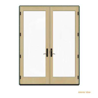 72 in. x 96 in. W-4500 Contemporary Green Clad Wood Left-Hand Full Lite French Patio Door w/Lacquered Interior