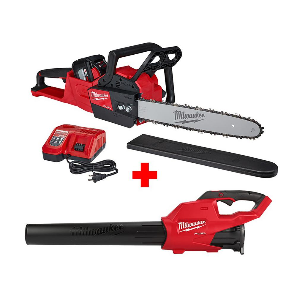 Milwaukee M18 FUEL 16 inch 18-Volt Lithium-Ion Battery Brushless Cordless Chainsaw Kit w/ M18 GEN II FUEL Blower