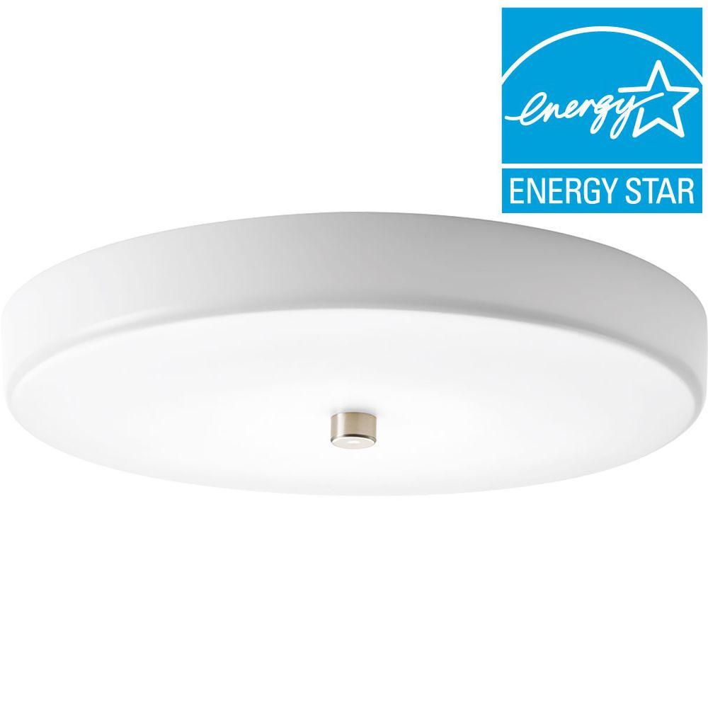 12 in. Beyond Collection 1-Light Brushed Nickel LED Flushmount