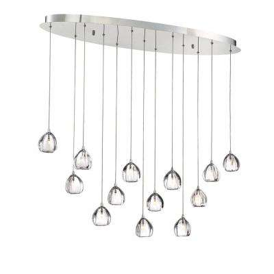 Lucido 13-Light Chrome Chandelier with Glass Shade