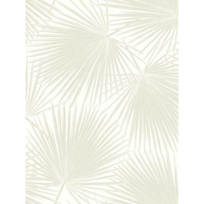Aruba Linen and White Palm Leaf Wallpaper