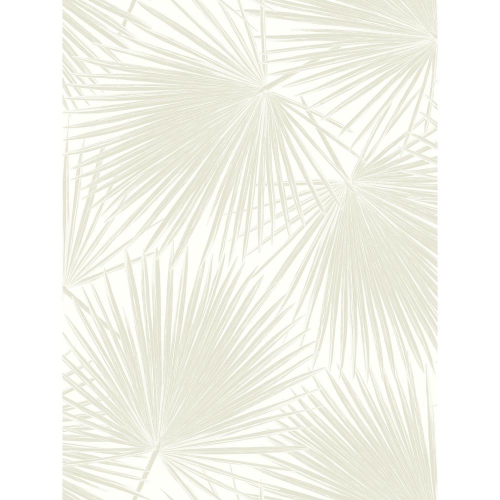Seabrook Designs Aruba Linen and White Palm Leaf Wallpaper TA20210