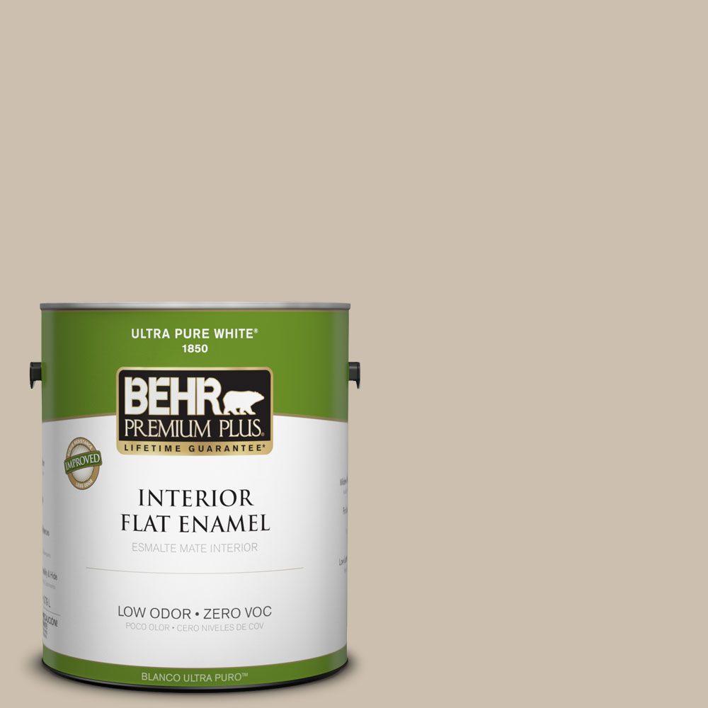 BEHR Premium Plus Home Decorators Collection 1-gal. #HDC-AC-10 Bungalow Beige Zero VOC Flat Enamel Interior Paint-DISCONTINUED