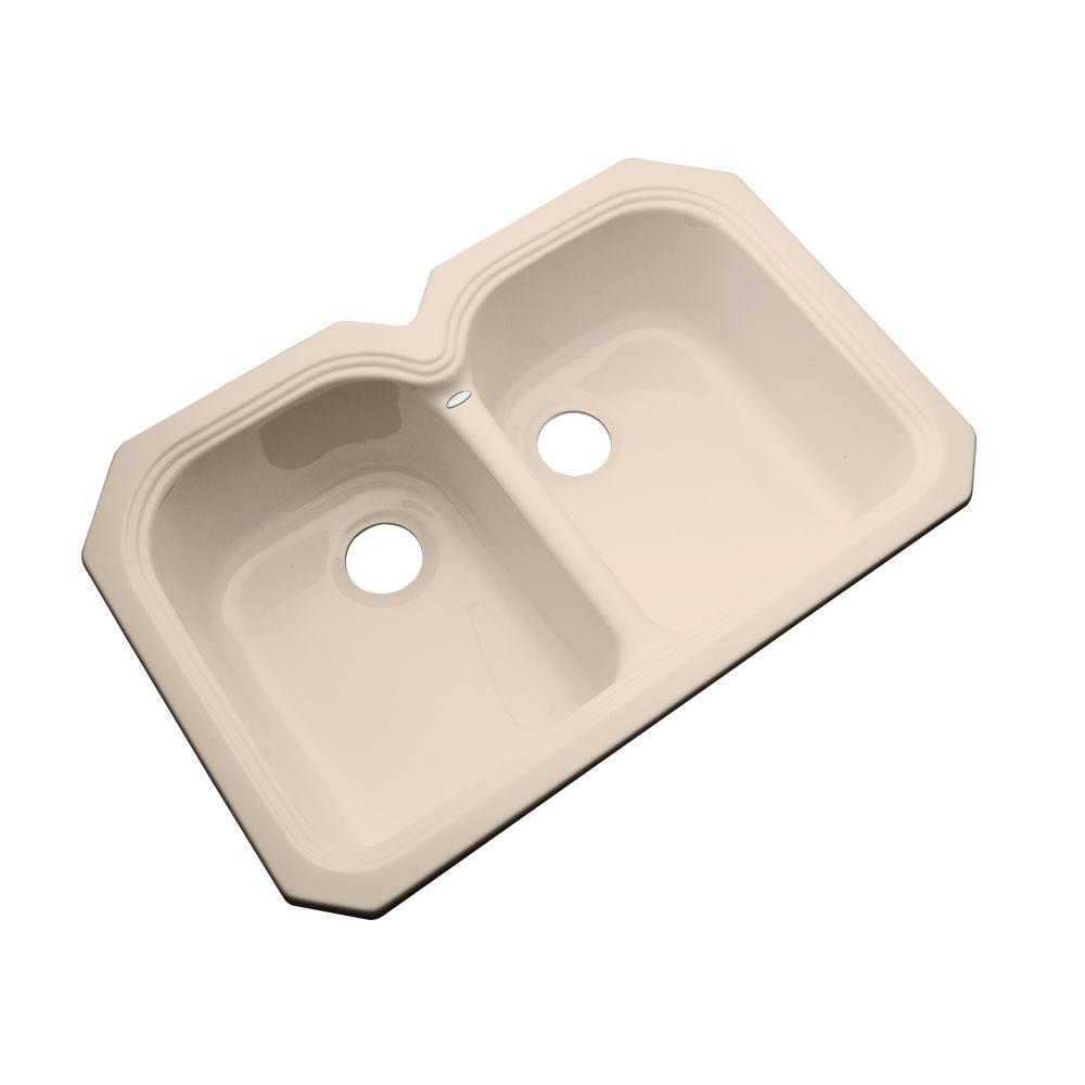 Thermocast Hartford Undermount Acrylic 33 in. Double Bowl Kitchen Sink in Peach Bisque