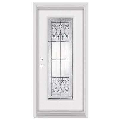 36 in. x 80 in. Nightingale Right-Hand Patina Finished Fiberglass Mahogany Woodgrain Prehung Front Door Brickmould