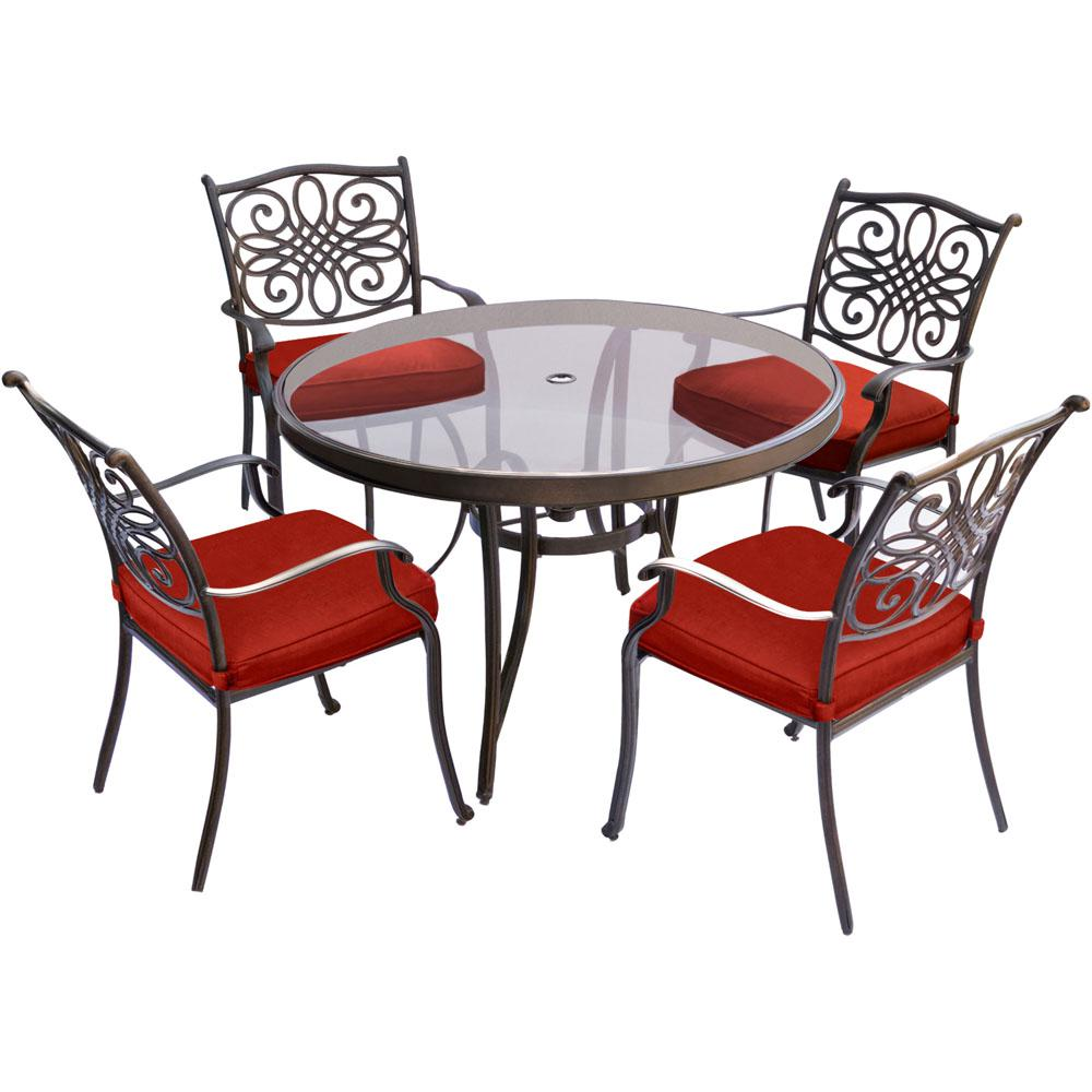 Exceptionnel Traditions 5 Piece Metal Outdoor Dining Set With Red Cushions And Glass Top  Table