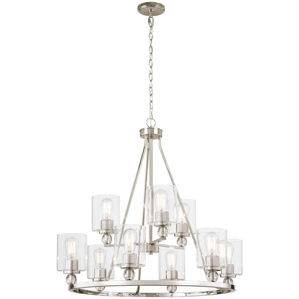 Minka Lavery Studio 5 9-Light Polished Nickel Chandelier with Clear Glass Shade