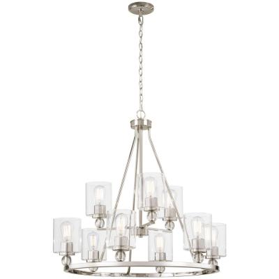 Studio 5 9-Light Polished Nickel Chandelier with Clear Glass Shade