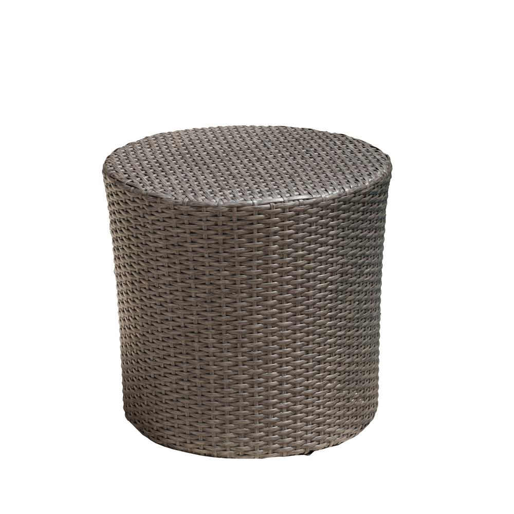 Le House Jalen Grey Round Barrel Wicker Outdoor Side Table