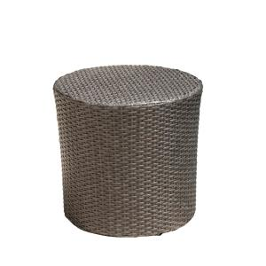 Marvelous Noble House Jalen Grey Round Barrel Wicker Outdoor Side Pabps2019 Chair Design Images Pabps2019Com
