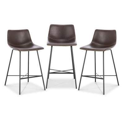 Paxton 24 in. Brown Counter Stool (Set of 3)