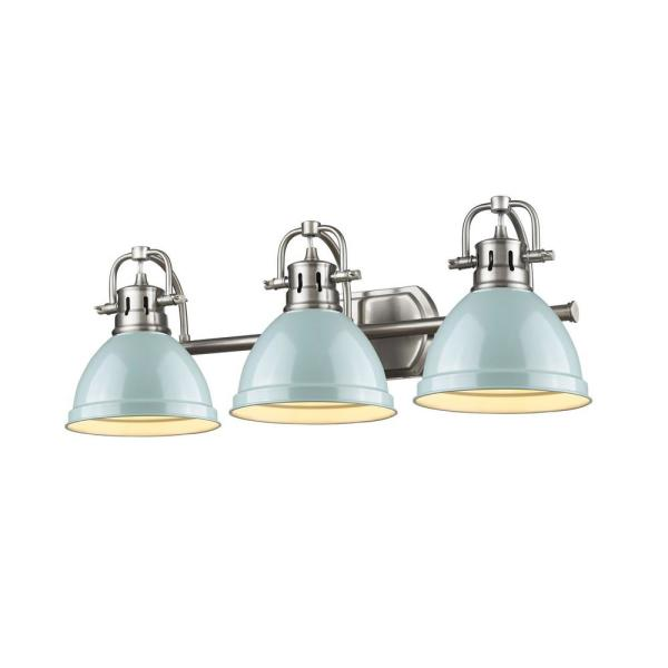 Duncan 3-Light Pewter Bath Light with Sea Foam Shade