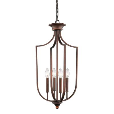 14 in. Wide 4-Light Rubbed Bronze Taper Candle Pendant