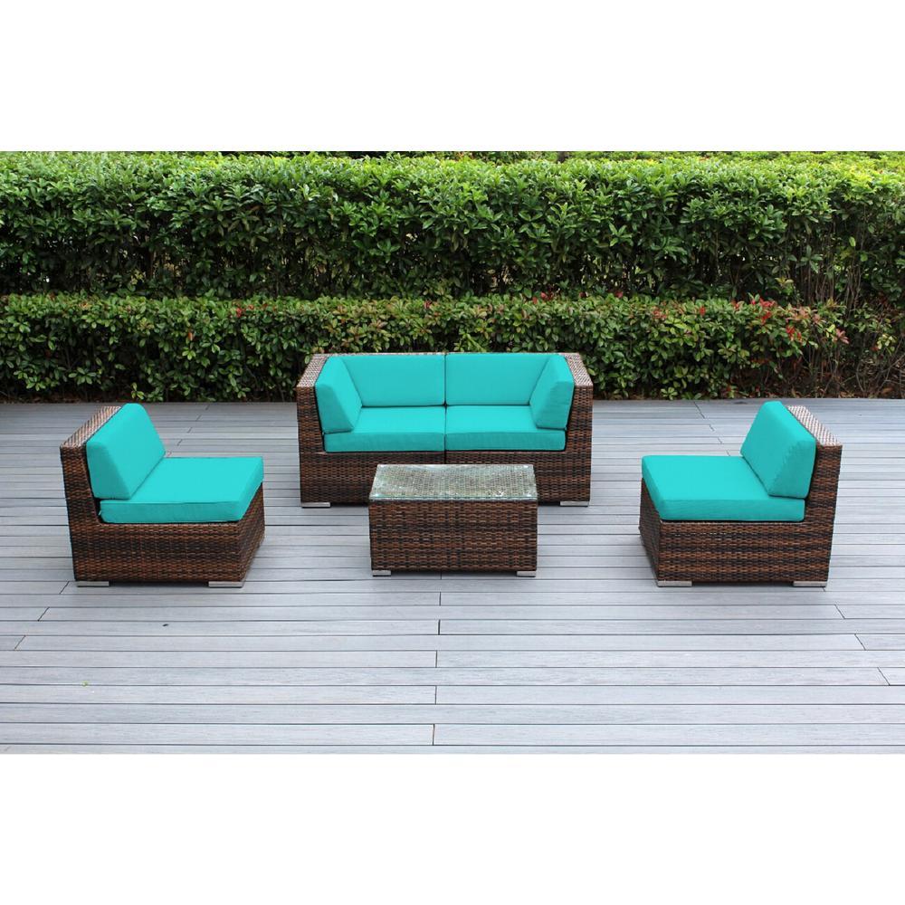 Ohana Mixed Brown 5-Piece Wicker Patio Seating Set with Sunbrella Aruba Cushions