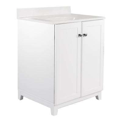 24 in. x 21 in. x 33 in. 2-Door Bath Vanity in White with 4 in. Centerset White on White CM Vanity Top with Basin