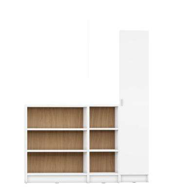 Greenwich 3-Piece White Matte and Maple Cream Bookcase 12-Wide and Narrow Shelves with 1-Narrow Door