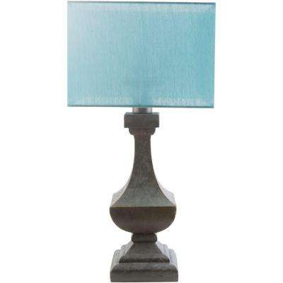 Barnes 31 In. Antique Pewter Indoor/Outdoor Table Lamp With Aqua Shade