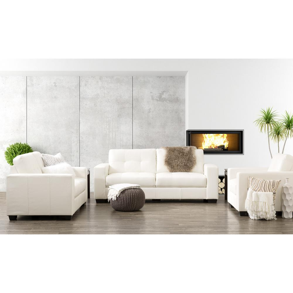 CorLiving Club 3-Piece Tufted White Bonded Leather Sofa Set