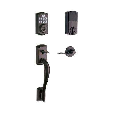 SmartCode 913 Touchpad Venetian Bronze Single Cylinder Electronic Deadbolt with Avalon Handleset and Tustin Lever