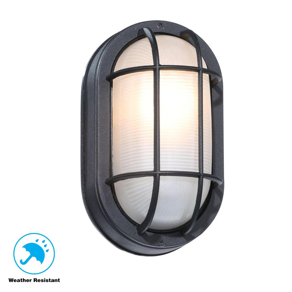 Hampton Bay Black Outdoor Oval Bulkhead Wall Light