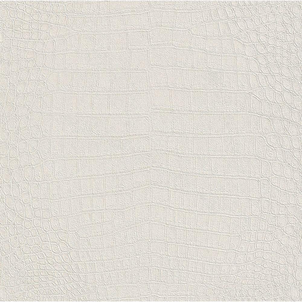 African Queen II Silky White Crocodile Textured Vinyl Wall Paper
