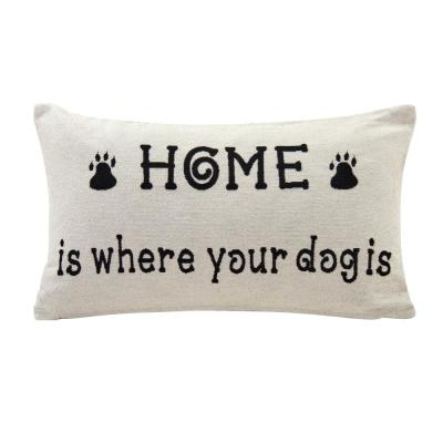 Home Is Where Your Dog Ivory Geometric Polyester 19 in. x 19 in. Throw Pillow
