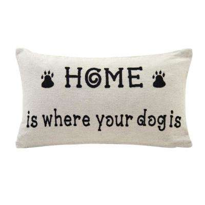 Home is Where Your Dog Is Ivory and Black Decortive Pillow