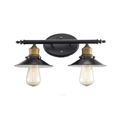 7 in. 2-Light Rubbed Oil Bronze Vanity Light with Metal Shade