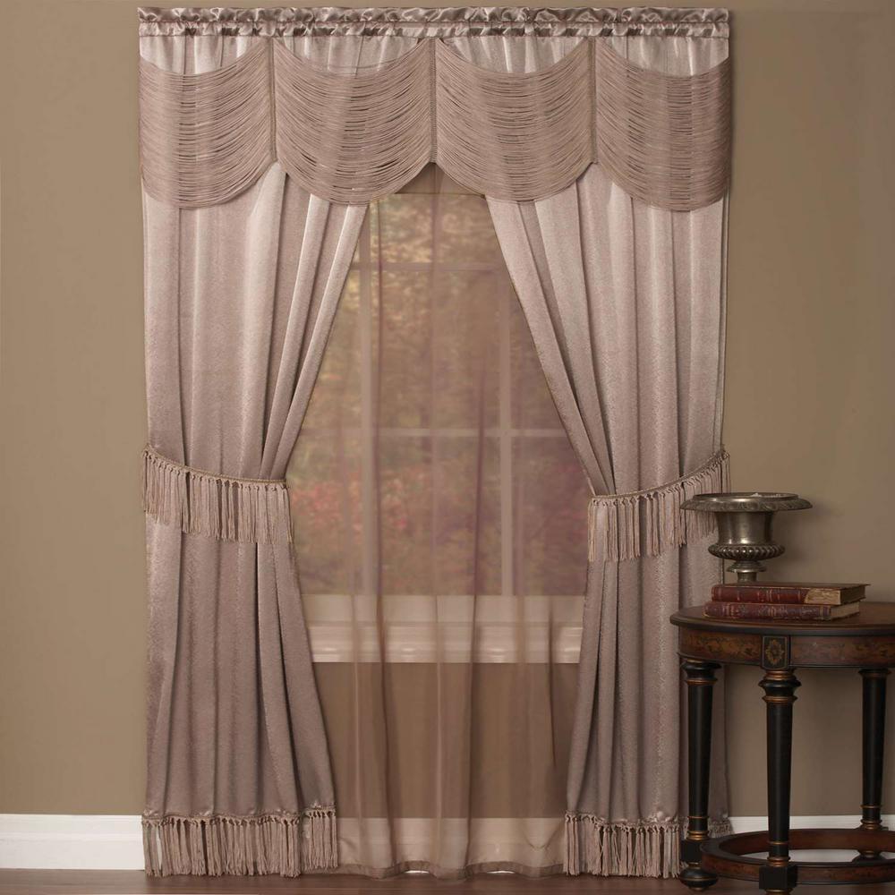 "White 55/"" X 63/"" Fairfield Window In A Bag 5Piece Curtain Set"