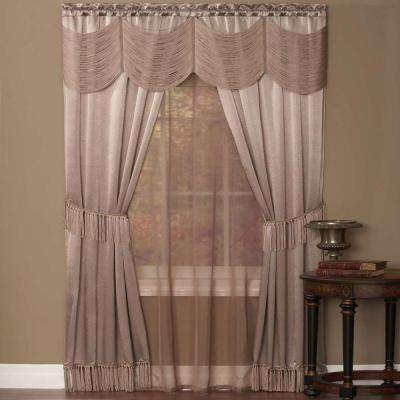 Sheer Halley Mauve Window Curtain Set - 56 in. W x 63 in. L