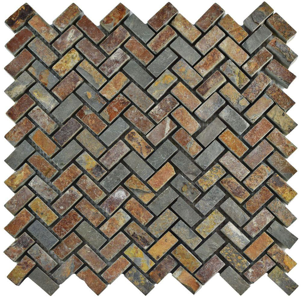 Merola Tile Crag Herringbone Sunset Slate 12 In X 10 Mm