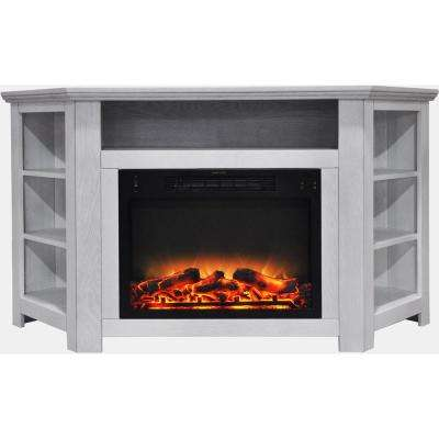 Tyler Park 56 in. Electric Corner Fireplace in White with Enhanced Fireplace Display
