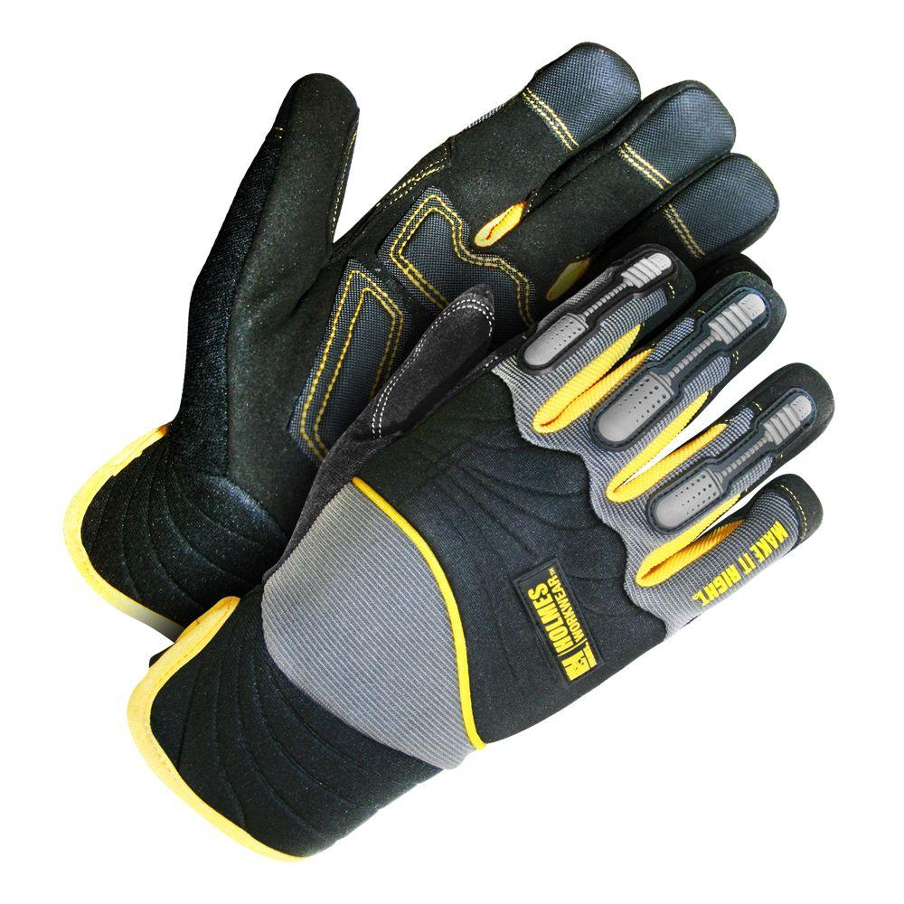 Holmes Workwear Medium Size Grey and Black Mechanics Glove with TPU Finger Protection and Reinforced Palm