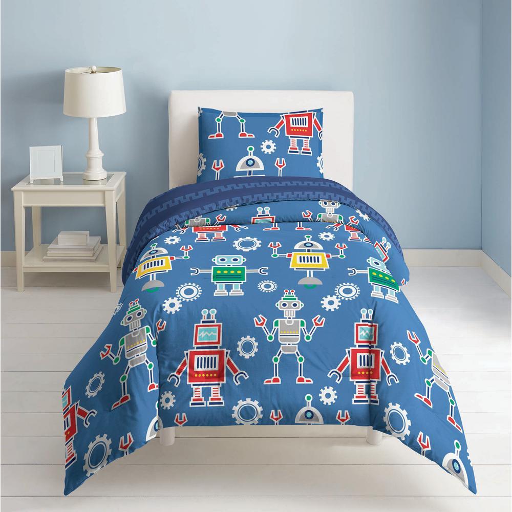 Robots and Bits 3-Piece Blue Full Comforter Set