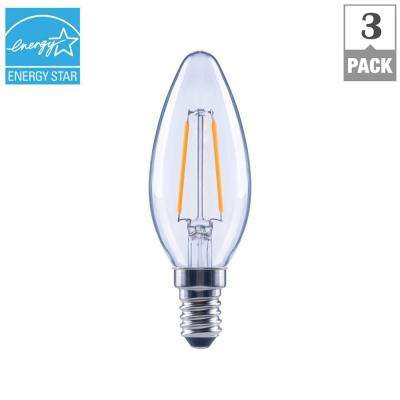 25-Watt Equivalent B11 E12 Base Dimmable Clear Filament LED Light Bulb, Soft White (3-Pack)