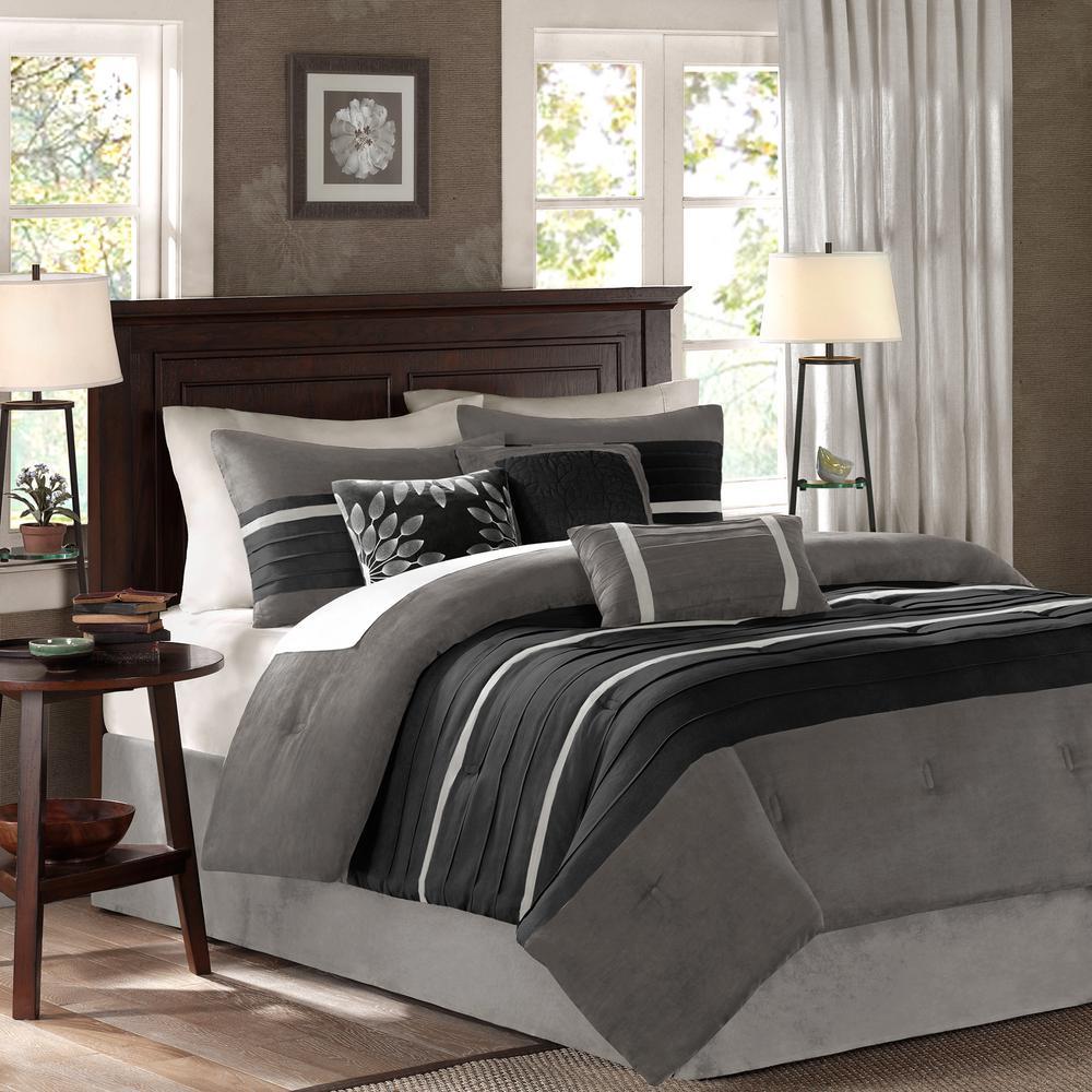 Teagan 7-Piece Black/Gray Queen Pieced Comforter Set