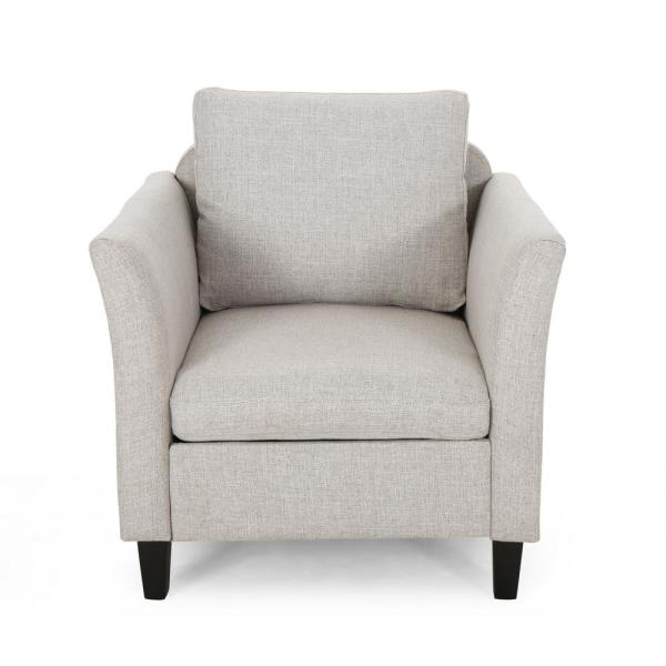 Closterman Beige and Dark Brown Upholstered Club Chair
